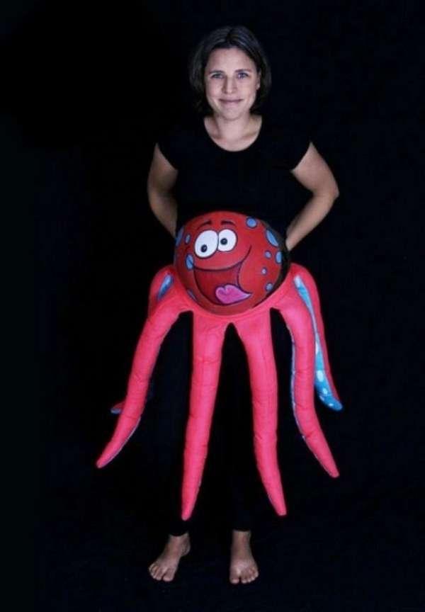 DIY Octopus Halloween Pregnancy Costume Idea