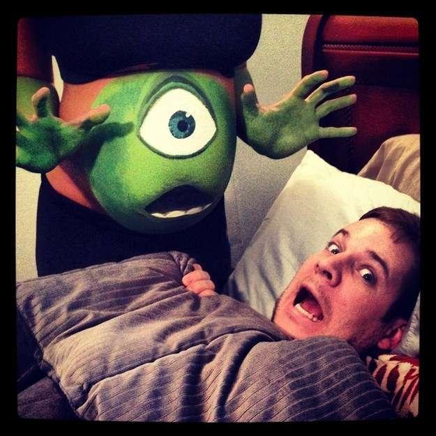 DIY Mike Wazowski Monsters Inc Halloween Pregnancy Costume Idea