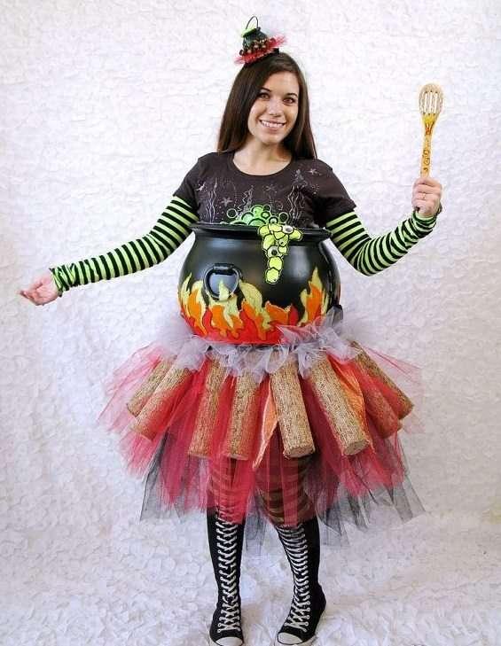DIY Witches Cauldron Halloween Pregnancy Costume Idea