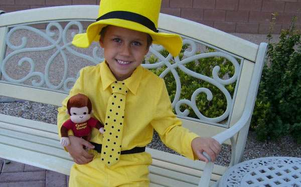 DIY Curious George and the Man with the Yellow Hat Costume
