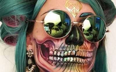 DIY Rainbow Skull Costume