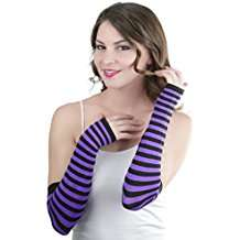 DIY Cheshire Cat Halloween Costume Idea - Purple Striped Arm Warmers