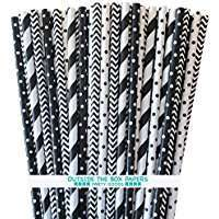Amazon - Theme Party - Black & White Paper Straws