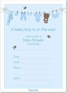 Invitation Cards Baby Shower Boys